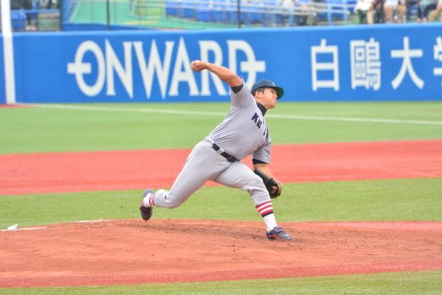0528早稲田① 打っては先制本塁打、投げてはリーグ戦通算20勝目を挙げた加藤拓